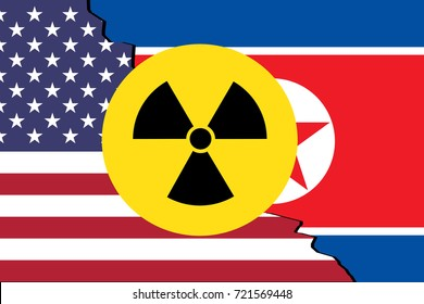 United States vs North Korea. Flags separated by crack and nuclear symbol on top.