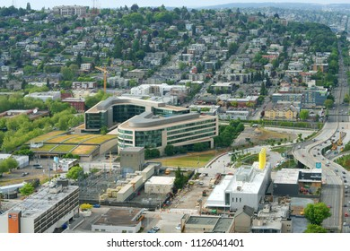 UNITED STATES, WA, SEATTLE - MAY 21, 2018: Urban view and Bill & Melinda Gates Foundation