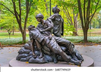 United States, Washington D. C. - September 20, 2019: The Vietnam Women's Memorial is a memorial dedicated to the women of the United States who served in the Vietnam War, most of whom were nurses.