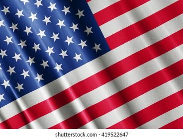United States waving flag close