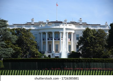 United States White House with American Flag Flying