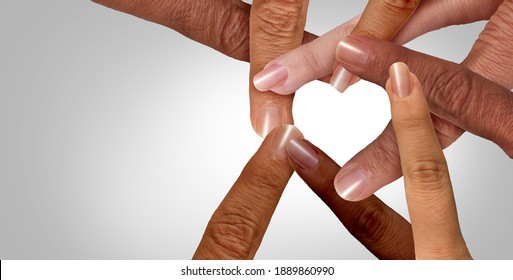 United together or unity and diversity partnership as heart hands and fingers in a group of diverse people connected shaped as a support symbol for business teamwork success and togetherness.