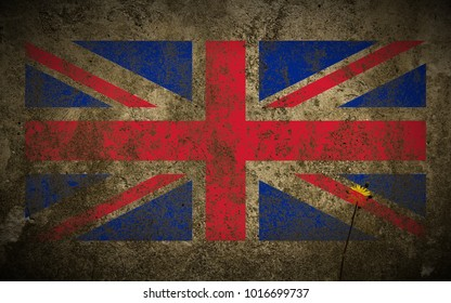 United_Kingdom flag painted on beige_concrete_wall_and_flower texture background