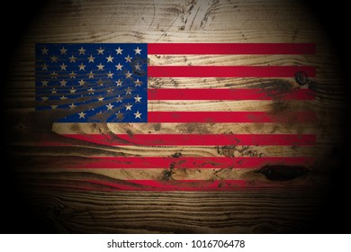 United_States flag painted on dark_gold_and_brown_wood texture background