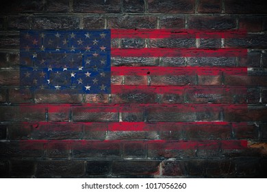 United_States flag painted on dark_old_grungy_brick_wall texture background