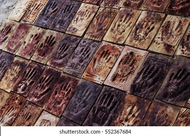 Unity and Diversity in Hand Print Relief Community Artwork