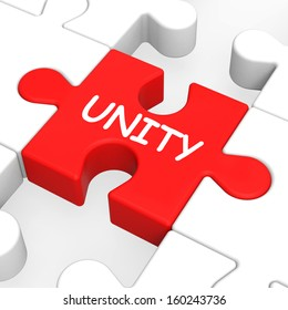 Unity Puzzle Showing Team Teamwork Or Collaboration