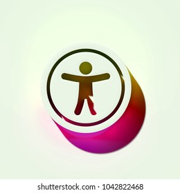 Universal Access Icon. 3D Illustration of White Human, Innovation, Strategy Icons With Yellow and Pink Gradient Shadows.