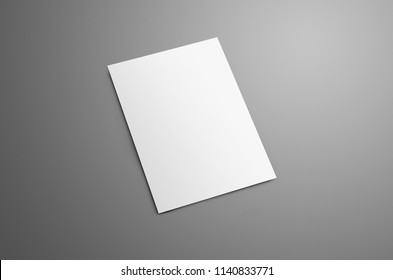 Universal blank A4, (A5) bi-fold brochure with soft realistic shadows isolated on gray background. The brochure is shows the backside cover. Template can be used for your design.