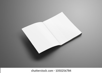 Universal blank A4, (A5) catalog with soft realistic shadows isolated on gray background. Magazine opened on the first page and can be used for your design.
