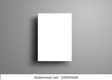 Universal blank closed A4, (A5) brochure with soft realistic shadows  isolated on gray background. Top of view. Template can be used for your showcase.