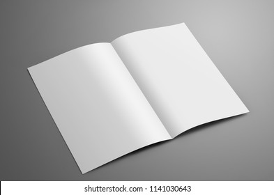 Universal blank  one A4, (A5) bi-fold brochure with soft shadows isolated on gray background. The booklet is opened and  shows the turn. Template can be used for your showcase.
