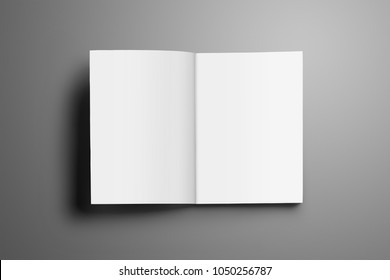 Universal blank opened A4, (A5) magazine with soft realistic shadows isolated on gray background. Brochure opened on the first page and can be used for your showcase.