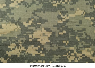 Universal camouflage pattern, army combat uniform digital camo, USA military ACU macro closeup rip-stop fabric texture background crumpled wrinkled green yellow tan, grey NYCO, nylon cotton horizontal