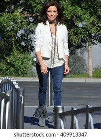 UNIVERSAL CITY CA - APRIL 22, 2016: Country pop singer Martina McBride comes to the set of  entertainment news program 'Extra' for interview with Charissa Thompson April 22, 2016 Universal City CA.