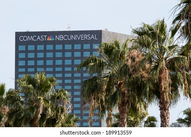 UNIVERSAL CITY, CA - APRIL 23, 2014: The Comcast / NBC Universal building located on Lankershim Blvd. updated with the new company logo. Comcast is the largest mass media company by revenue.