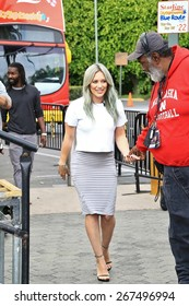 UNIVERSAL CITY CA - APRIL 7, 2015: Actress/singer Hilary Duff is on the set of the entertainment news program 'Extra' at Universal Studios Hollywood April 7, 2015 Universal City CA.