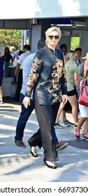 "UNIVERSAL CITY CA - JUNE 29, 2017: Actress Jane Lynch is in Universal Studios Hollywood for an appearance on ""Extra"" June 29, 2017."