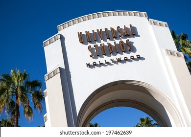 UNIVERSAL CITY,  CA - JUNE 4, 2014: The Universal Studios Hollywood sign greets visitors to the park. In 2013, Universal had 6,148,000 guests, placing it 17th in the world among North American parks.