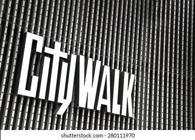 UNIVERSAL CITY, CA - MAY, 8 2015: Close up of the Universal Studios Citywalk logo. Citywalk is the entertainment, dining, and shopping promenade located adjacent to the Universal studios theme park.