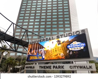 UNIVERSAL CITY, CA - MAY 9, 2019: The main Universal Studios Marquee greets fun seekers from all over the world.