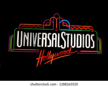 "UNIVERSAL CITY, CA - OCT 29, 2018: The Universal Studios Hollywood sign greeting visitors outside the amusement park. It's official marketing headline is ""The Entertainment Capital of LA""."