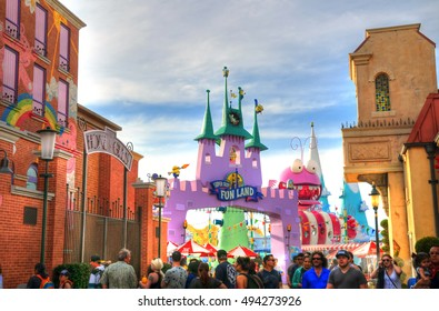 UNIVERSAL CITY, CA, USA MAY 13: Castle of Super Silly Fun Land area in the Universal Studios Hollywood Park. Super Silly Fun Land is a new play area for the guests. Hollywood, CA, USA May 13, 2016