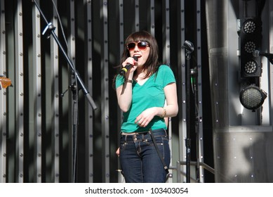 "UNIVERSAL CITY, CA-APRIL 14: Singer Carly Rae Jepsen performs at Universal Citywalk 5 Towers Stage to promote her CD single ""Call Me Maybe"", April 14, 2012 in Universal City, CA."