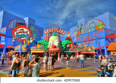 UNIVERSAL CITY HOLLYWOOD, LA, CALIFORNIA, MAY 13: Colorful HDR image of Krustyland in the Simpsons area in Universal Studios. California, USA, May 13, 2016