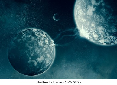Universal Connections - energy streams between two planets in a dramatic outer space scene
