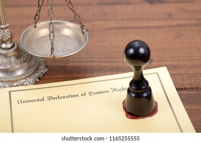 Universal Declaration of Human Rights, Scales of Justice , Notary seal, legality concept.
