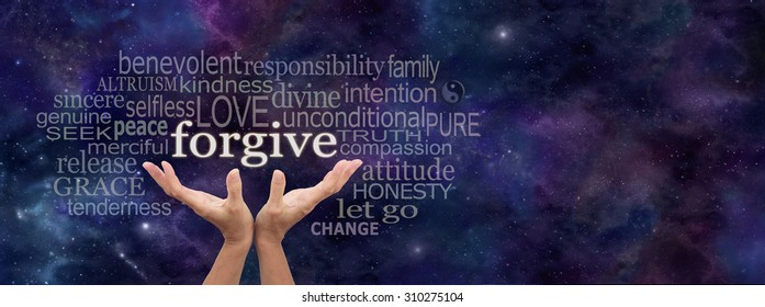 Universal forgiveness -  Female open palm hands on a panoramic deep space dark blue background reaching up to the word Forgive above surrounded by a relevant word cloud and copy space on right side