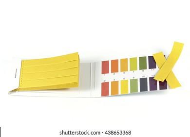 universal indicator paper isolated on white background