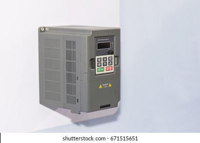 Universal inverter for electric current vector control & supply for industrial on white wall
