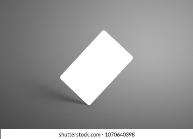 Universal mockup one  bank (gift) card on a gray background standing on the corner with shadows. Ready to used in your design.