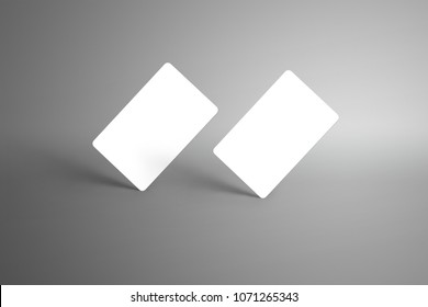 Universal mockup of a two  bank (gift) cards isolated on a gray background. Ready to used in your design.