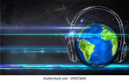 """Universal Music Blackboard Background """"Elements of this image furnished by NASA"""""""