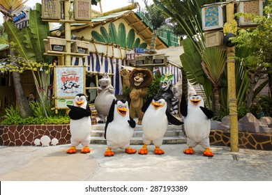 Universal Studio, Singapore - September 15, 2014 : Live Madagascar Boogie show at Universal Studios Singapore.