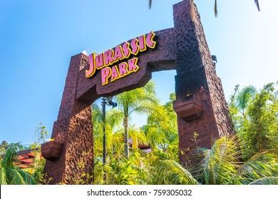 Universal Studios, Hollywood, Los Angeles, USA - Jun 30, 2016: Jurassic Park ride entrance