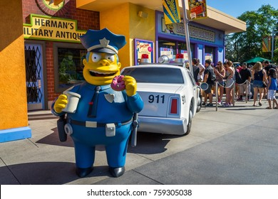 Universal Studios, Hollywood, Los Angeles, USA - Jun 30, 2016: Chief Wiggum, Simpsons character statue