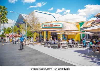 Universal Studios Orlando Florida March 24, 2019 Kwik E Mart Simpsons cartoon Tv Show Convenient store