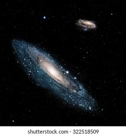 "The universe is all of the galaxies and andromeda against milky way (Instead of the Milky Way galaxy, the heic0602a Windmill galaxy is fictionalized)  ""Elements of this image furnished by NASA """