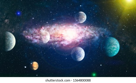 Universe filled with stars, nebula and galaxy - Elements of this Image Furnished by NASA