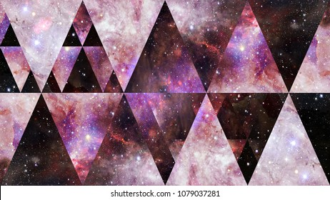 Universe, nebula, galaxy and the sacred geometry collage. Abstract outer space. Elements of this image furnished by NASA.