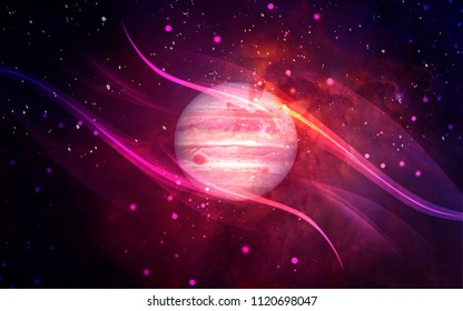 Universe: starry sky, nebula and a planet surrounded by a glowing atmosphere.