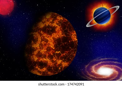 The Universe - stars planets and galaxy illustration