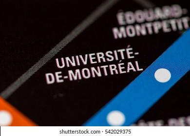 Universite-De-Montreal Station. Montreal Metro map.