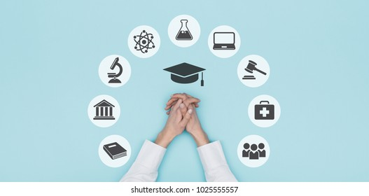 University, academy and education concept icons and student's hands, top view: learning and career concept