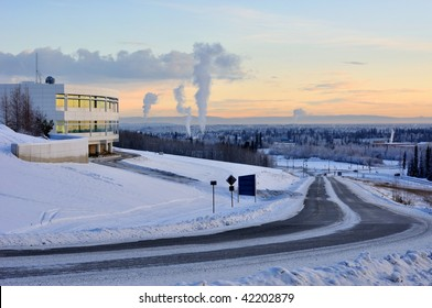 University of Alaska Fairbanks, and the city of Fairbanks in the winter at sunset