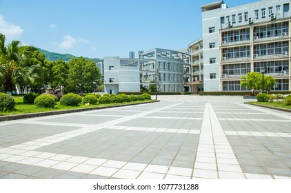 University building and outside park, square